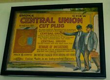 Vintage Central Union Tobacco  Store Display Sign - circa 1905 Framed