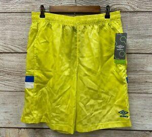 Umbro Premier Nylon Shorts Mens XLarge Neon Yellow Checkered Athletic Shorts New