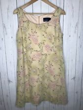 Hillard & Hanson Women's Dress Yellow Sleeveless Paisley Floral Print Size 12