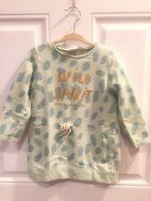 Zara Baby Girl Sweatshirt Dress Mint Green Size: 2/3
