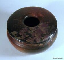 Antique Victorian Treen Ware Painted with Forget Me Nots Wooden Hair Receiver