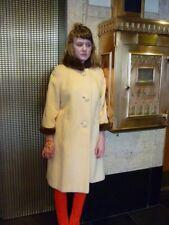 Vintage 1950s Winter White Mohair Coat w Brown Mink Trim Sz M Glam