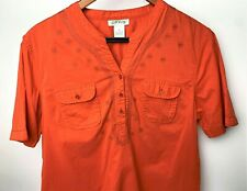 Orvis Womens Shirt Cayen Orange Embroidered Floral Short Sleeve Blouse Cotton L