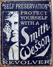 Vintage Replica Tin Metal Sign Smith & Wesson 32 38 44  Pistol Revolver Gun 1515