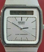 Vtg rare Seiko Ana digi H357-500A Alarm chronograph original band+box dual time
