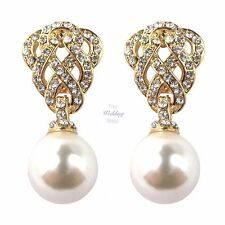 Bridal Wedding Gold Crystal Diamante Pearl Vintage Style Drop Dangle Earrings