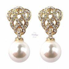 Nupcial Boda Con Diamantes Cristales y Oro Perla Gota de estilo vintage colgantes pendientes