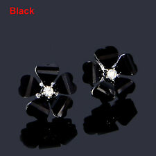 Elegant Fashion Crystal Rhinestone Ear Stud Flower Design Earrings Party Jewelry Black