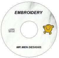 NEW 55 MR MEN / LITTLE MISS EMBROIDERY DESIGNS CD / DVD BROTHER PES JEF HUS