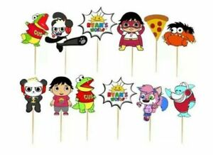 Set of 12 RYANS WORLD  Birthday Cup Cake Party Toppers / Decorations Birthday