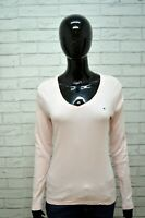 Maglia Donna TOMMY HILFIGER Taglia M Blusa Shirt Woman Polo Manica Lunga Rosa