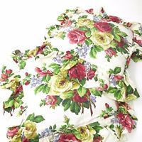 VINTAGE Pair Cabbage Roses BARKCLOTH Throw Pillows w/ Ruffle Trim