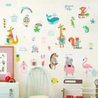 cartoon monkey whale flamingo mural wall stickers baby bedroom decor decal JR