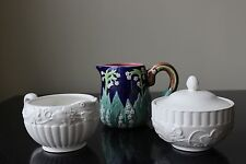 CREAM and SUGAR with LID SET and BLUE GREEN LILY CREAM PITCHER NEW By Sadek