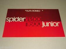 Auto Werbung Prospekt Alfa Romeo Spider Junior 1300 / 1600