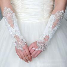 1 paire de mitaines femme en satin : mariage  coloris ivoire