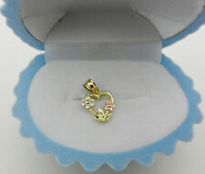 Baby Child 14k Multi Tone Gold HEART Shape Charm Pendant with Flower  SMALL Size