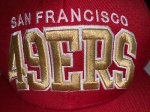 SF 49er's Mitchell & Ness Snapback Adjustable Hat - Red/Gold Vintage Collection