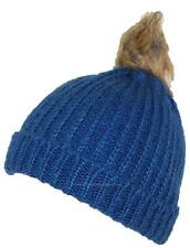 BWH Cuffed Rib Knit Beanie W/Soft Faux Fur Pom Pom, Hat, Cap, #706 Blue