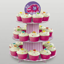 """15"""" Pink Ladybug Girl's Happy 1st Birthday Party 3 Tier Cupcake Cake Stand"""