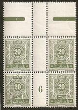 Maroc: Taxe N° 30 millésime 6 bloc de 4 avec languette,neuf ** superbe