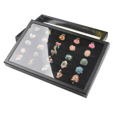 100 Jewelry Ring Display Organizer Case Tray Holder Earring Velvet Storage Box