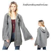 BOHO Gray Cotton Knit Hood Lagenlook Open Bell Sleeve Sweater Cardigan S M L XL