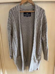 Used Womens Superdry Long Grey Cardigan Size XL