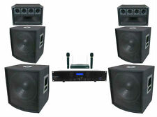 Complete 5000 Watt Pro DJ System! Speakers! Subwoofers! Amplifier! Wireless Mic!
