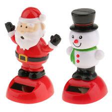 2x Solar Juguetes Navidad Santa Muñeco De Nieve Adornos Swing Bobble Head Decoración de Coche de juguete
