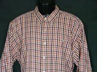 Orvis Long Sleeve All Cotton Button Down Shirt Mens L Orange Multi Plaid
