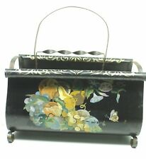VINTAGE BLACK METAL CHIC MAGAZINE RACK TOLEWARE HAND PAINTED SHABBY BUTTERFLY