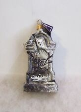 Slavic Treasures Ornament Rest In Pieces Tombstone Hand Blown Glass Poland S4 17