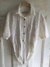 Vintage Kerry Mcgee Bodysuit Button Down Short Sleeve Top Cotton Crochet Size L