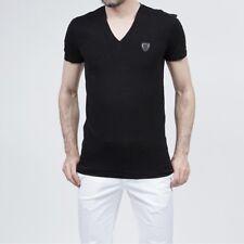 Anthony Morato Mens V Neck T-Shirt Top Short Sleeve  Black Size XXL