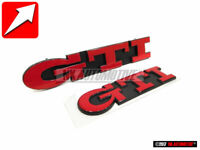 Genuine VW SET GTI Front Grill & Rear Boot Badge Emblem Red - Golf MK3