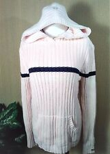 Polo Ralph Lauren Cable Knit Hoodie Sweater Heavy Warm Light Pink Sz X-Large
