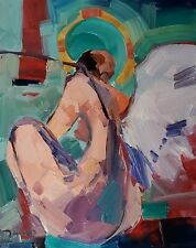 JOSE TRUJILLO Oil Painting IMPRESSIONISM NUDE ANGEL MODERNIST LARGE WINGS 16X20
