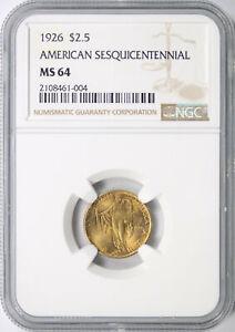 1926 $2.5 Sesquicentennial Commemorative Gold Quarter Eagle NGC MS64