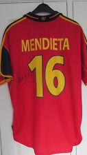Firmado Gaizka Mendieta España 2000 Home Camisa prueba exactas Barcelona Lazio Boro