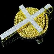 BIG JESUS CROSS CHARM PENDANT 14K YELLOW GOLD FINISH SIMULATED DIAMOND 4.25 INCH