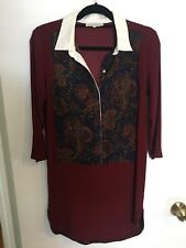 SANDRO Burgundy/White Blue Multi Color Paisley Print Collared Tunic Dress Sz 1 S