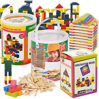 Classic Wooden Construction Building Blocks Bricks Kids Toy Pieces Xmas Gift Set