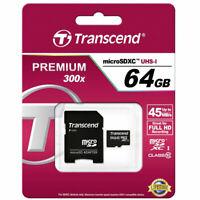 Scheda memoria MicroSDXC Transcend Premium 300X 64GB classe 10 UHS-I microSD XC