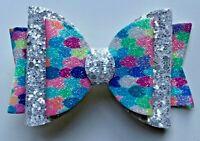 "Mermaid & Silver Glitter Hair Bow, Clip, Slider - Beautiful Handmade 3.5"""