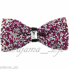 Fashion Hot Pink Fuchsia Diamond Glitters Rhinstone TUXEDO BOW TIE Wedding Party
