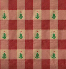 Red Check and Green Pine Trees Christmas Tissue Paper # 727 ~ 10 Large Sheets