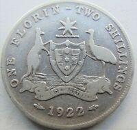 1922 AUSTRALIA George V, silver  Florin, Grading About FINE.