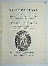 SIGILLI - figurato 1744 - MEDIOEVO - storia - araldica - MANNI - tomo 16