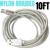10Ft Braided Micro USB Charger Cable For Android Samsung Fast Charging Data Cord